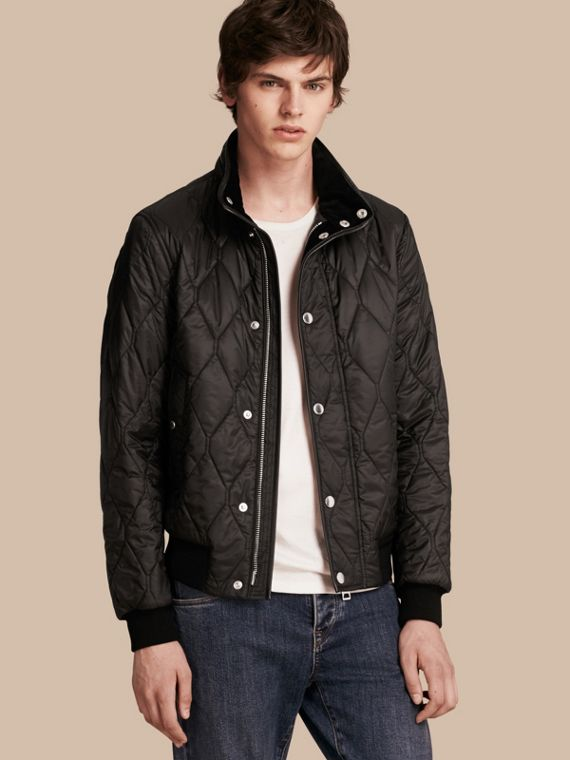 Stand-collar Military-quilted Jacket with Packaway Hood