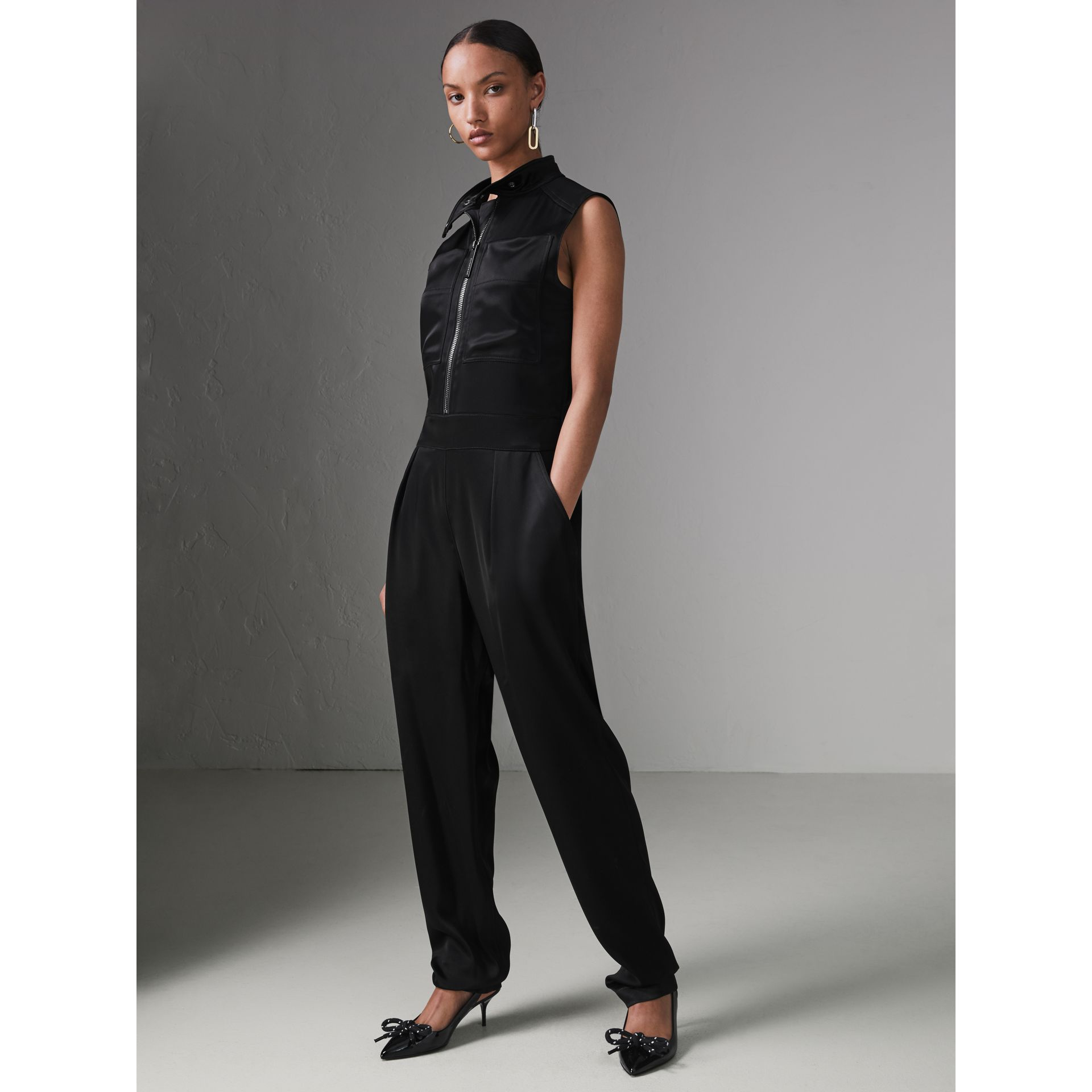 Sleeveless Satin Zip-front Jumpsuit in Black - Women | Burberry - gallery image 4