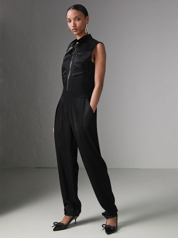 Sleeveless Satin Zip-front Jumpsuit in Black