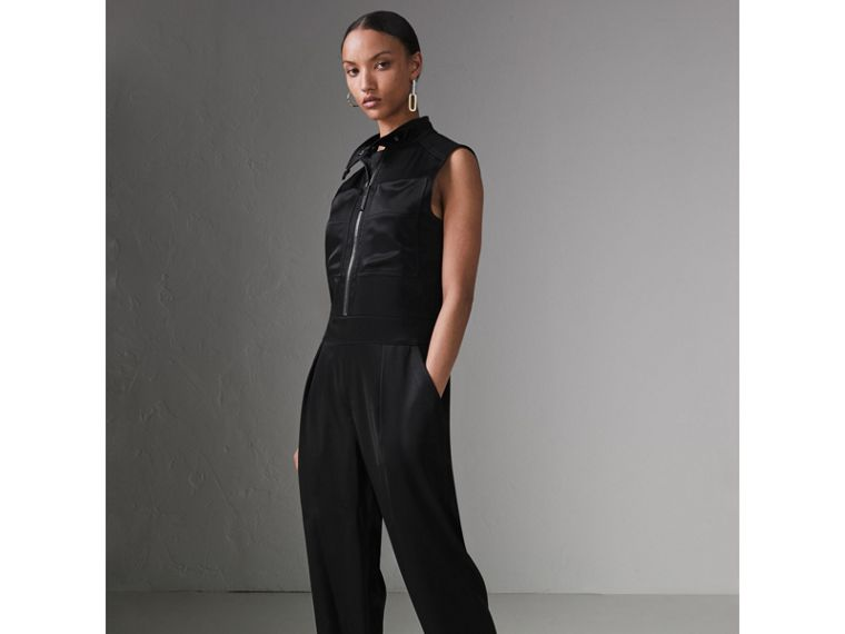 Sleeveless Satin Zip-front Jumpsuit in Black - Women | Burberry - cell image 4