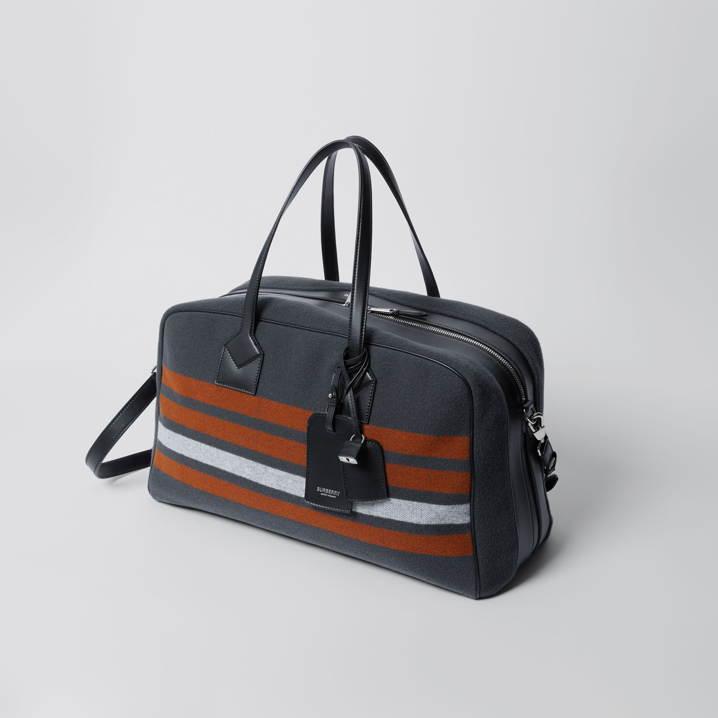 Striped Wool and Leather Cube Holdall in Mid Grey - Men | Burberry Hong Kong S.A.R. - 4