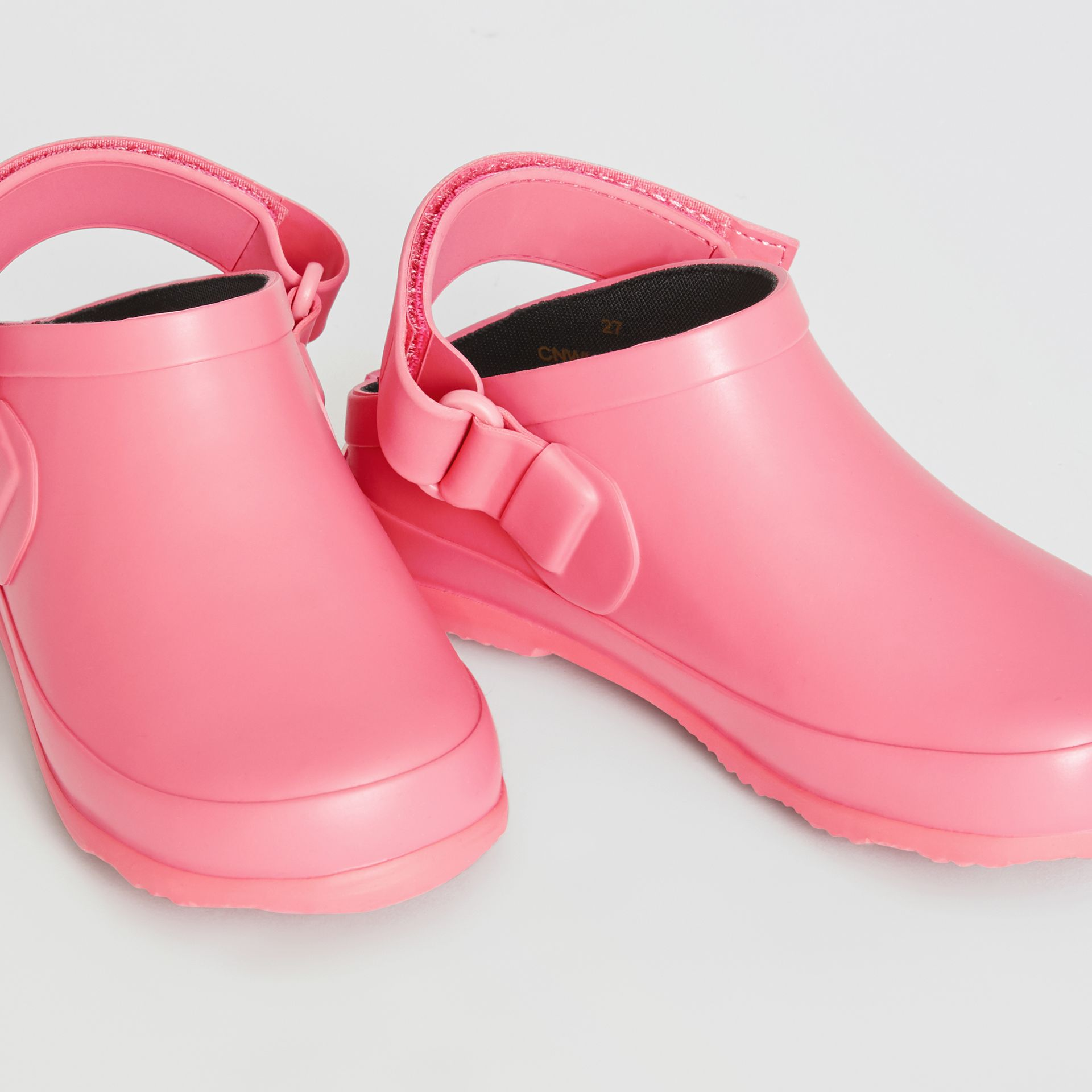 Check Detail Rubber Sandals in Bright Rose - Children | Burberry - gallery image 1