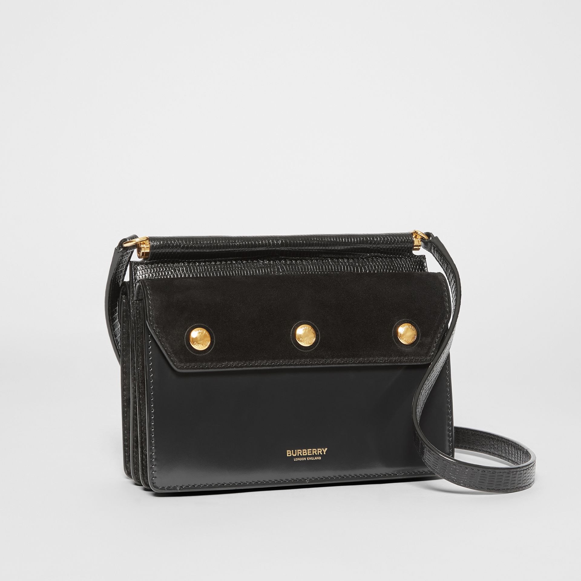 Mini Suede and Leather Title Bag with Pocket Detail in Black - Women | Burberry United Kingdom - gallery image 4