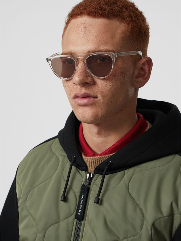 Keyhole D-shaped Sunglasses in Grey - Men | Burberry United Kingdom - cell image 2