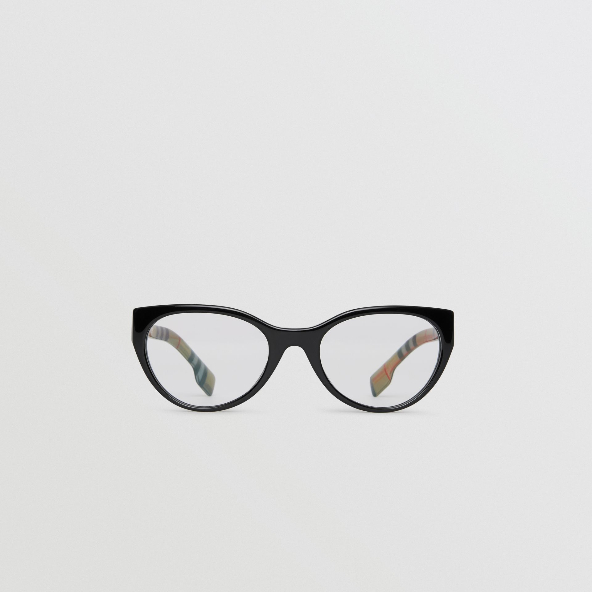 Vintage Check Detail Cat-eye Optical Frames in Black - Women | Burberry - gallery image 0