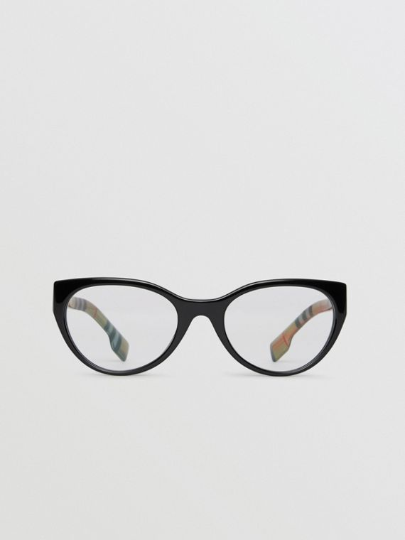 Vintage Check Detail Cat-eye Optical Frames in Black