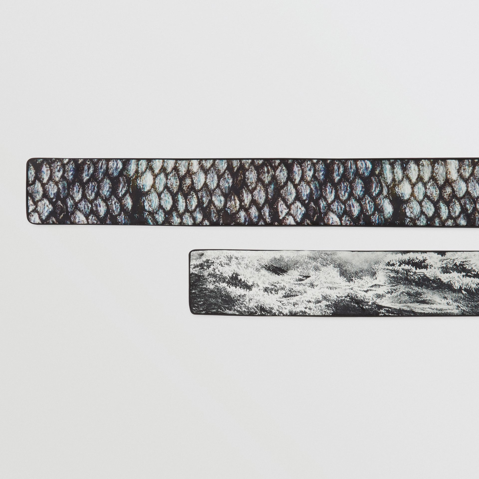 Sea and Fish-scale Print Silk Skinny Scarf in Grey | Burberry United States - gallery image 1
