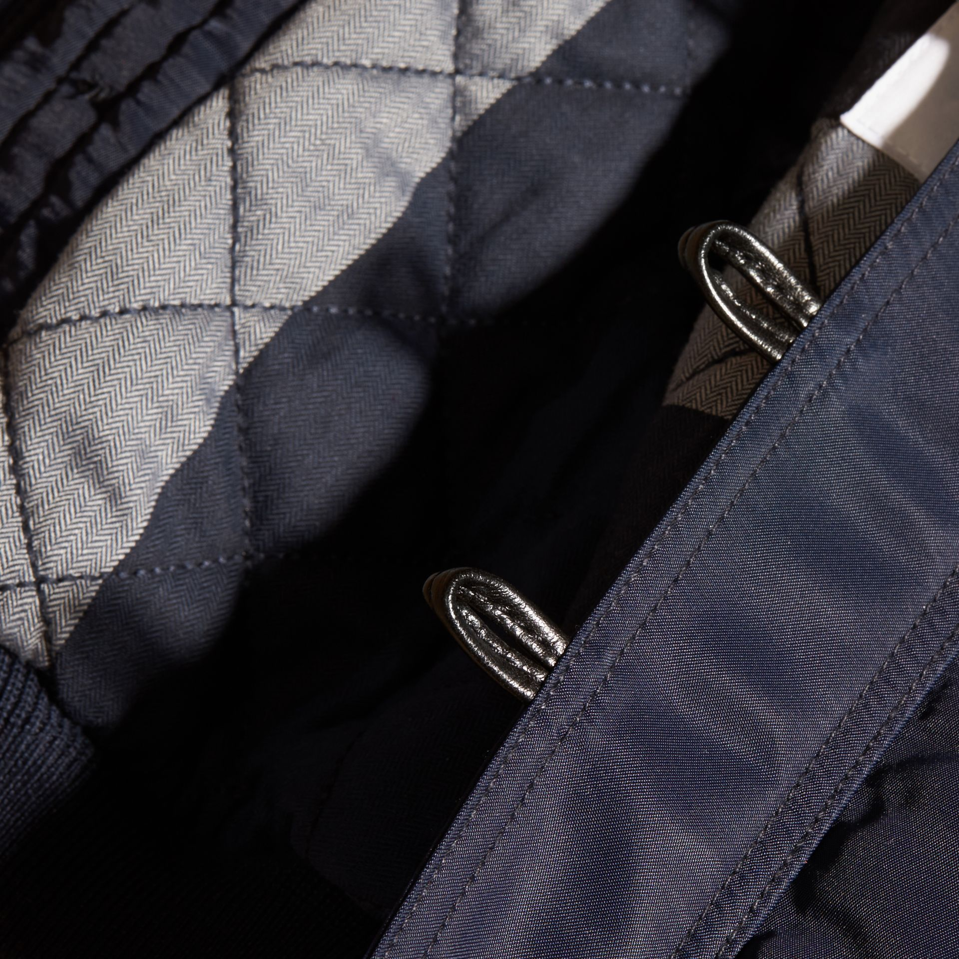 Navy Hooded Technical Twill Bomber Jacket - gallery image 2