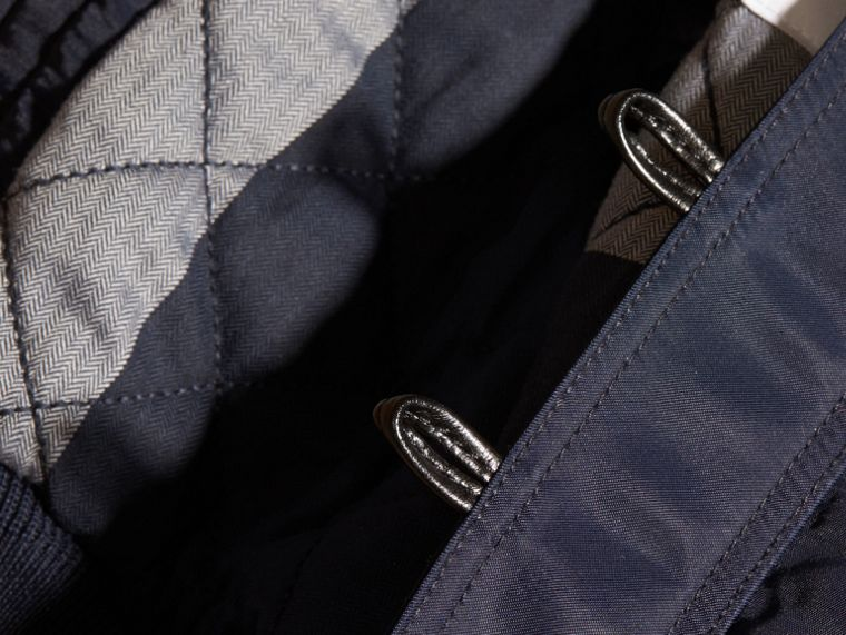 Navy Hooded Technical Twill Bomber Jacket - cell image 1