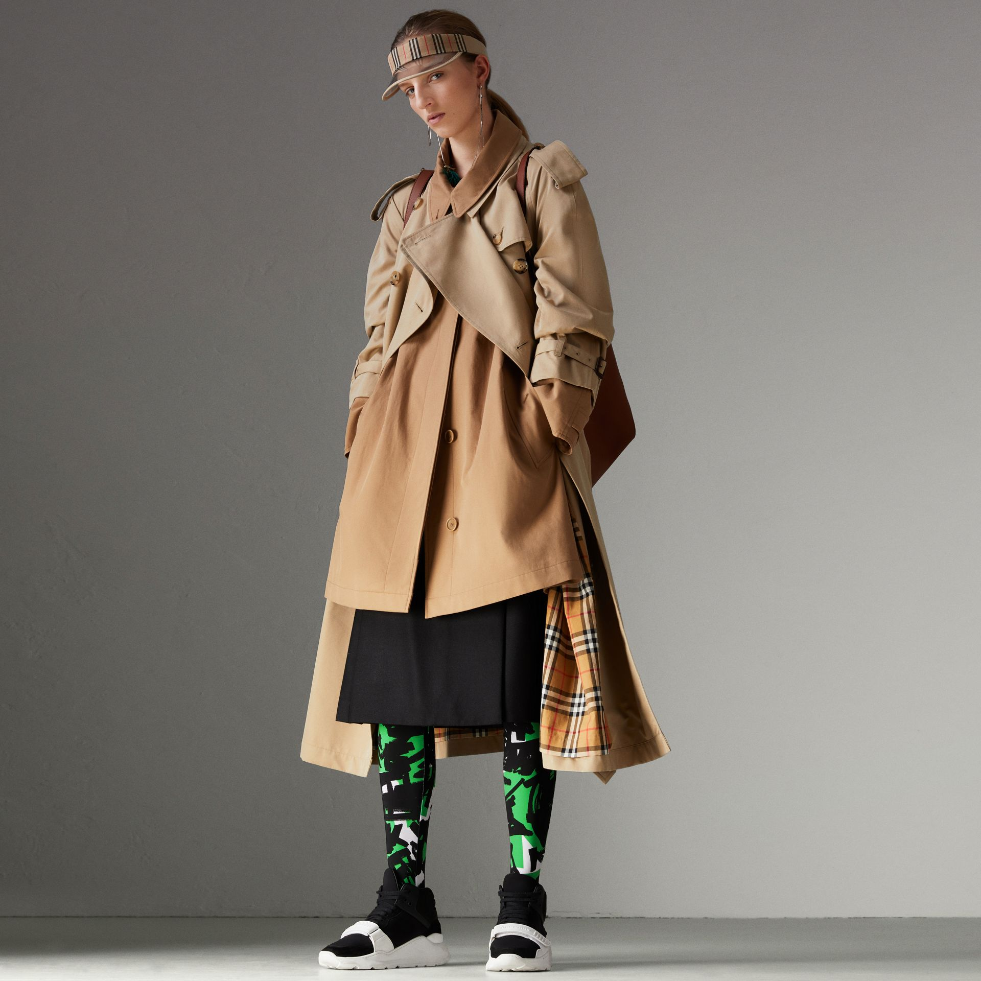 Cotton Gabardine Reconstructed Car Coat in Honey - Women | Burberry - gallery image 0