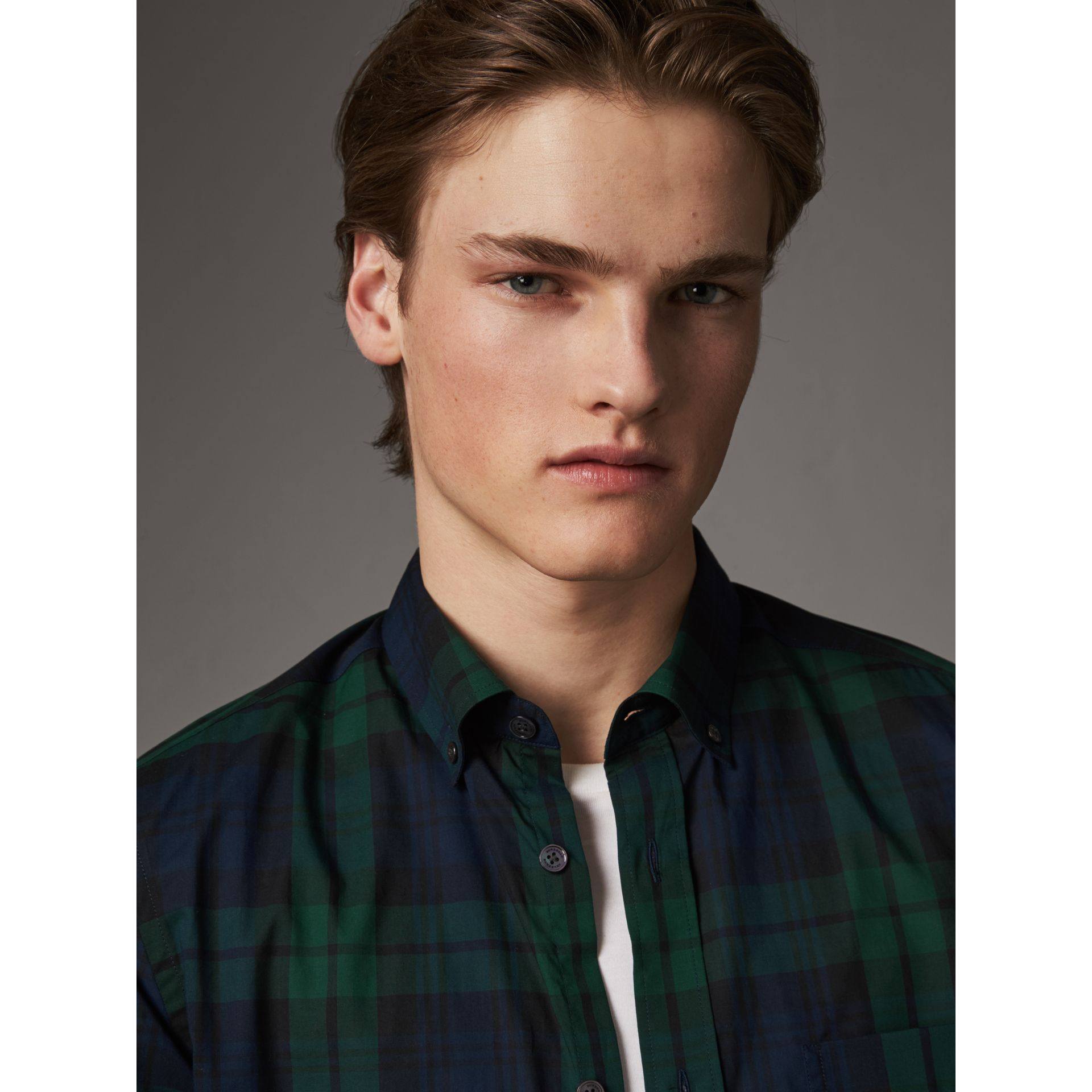 Check Cotton Shirt in Navy - Men | Burberry Australia - gallery image 1