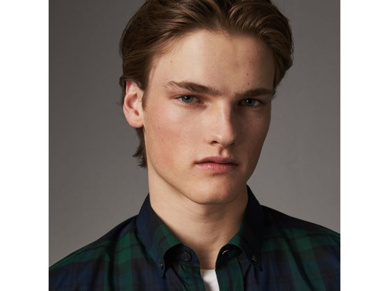 Check Cotton Shirt in Navy - Men | Burberry Australia - cell image 1