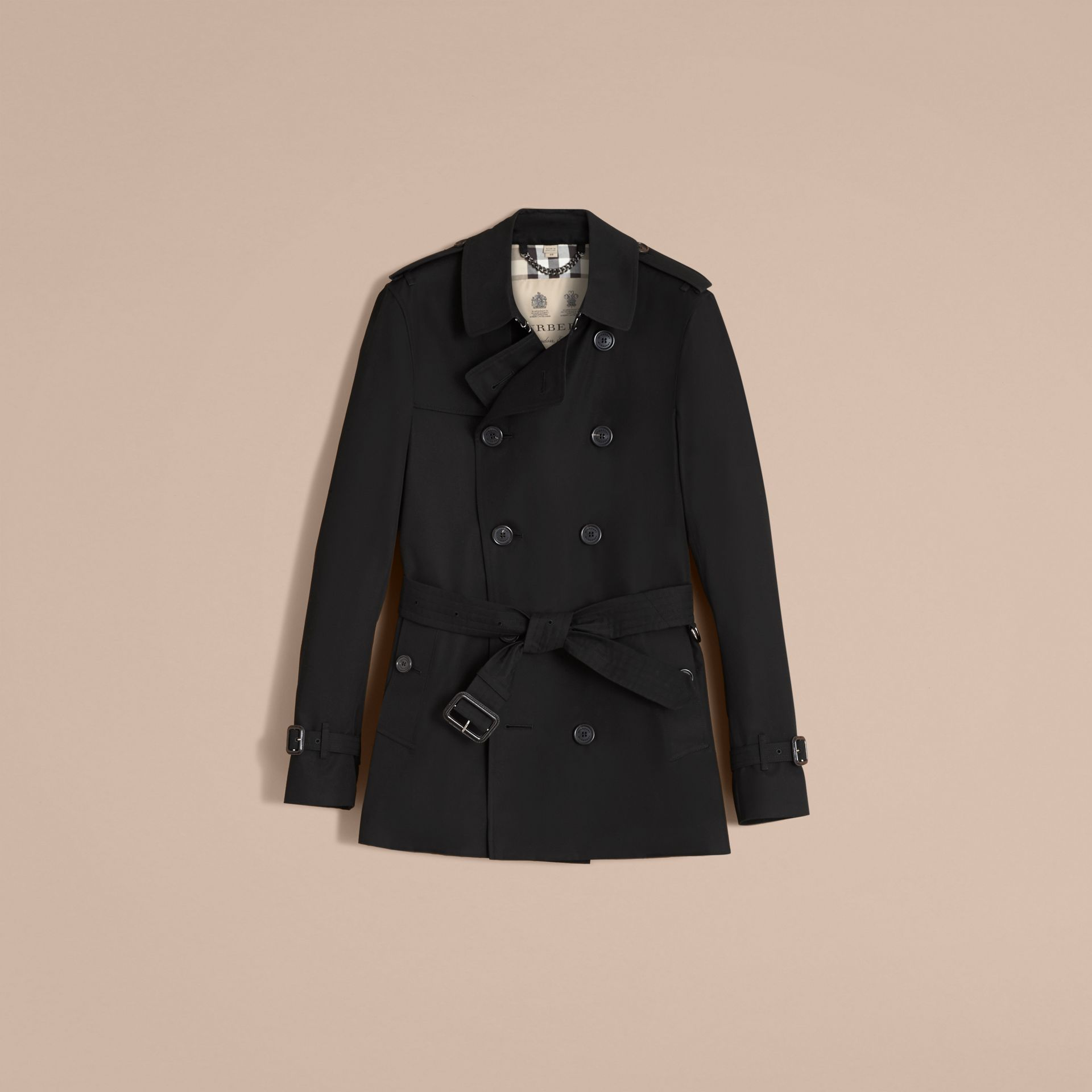 The Sandringham – Short Heritage Trench Coat Black - gallery image 4
