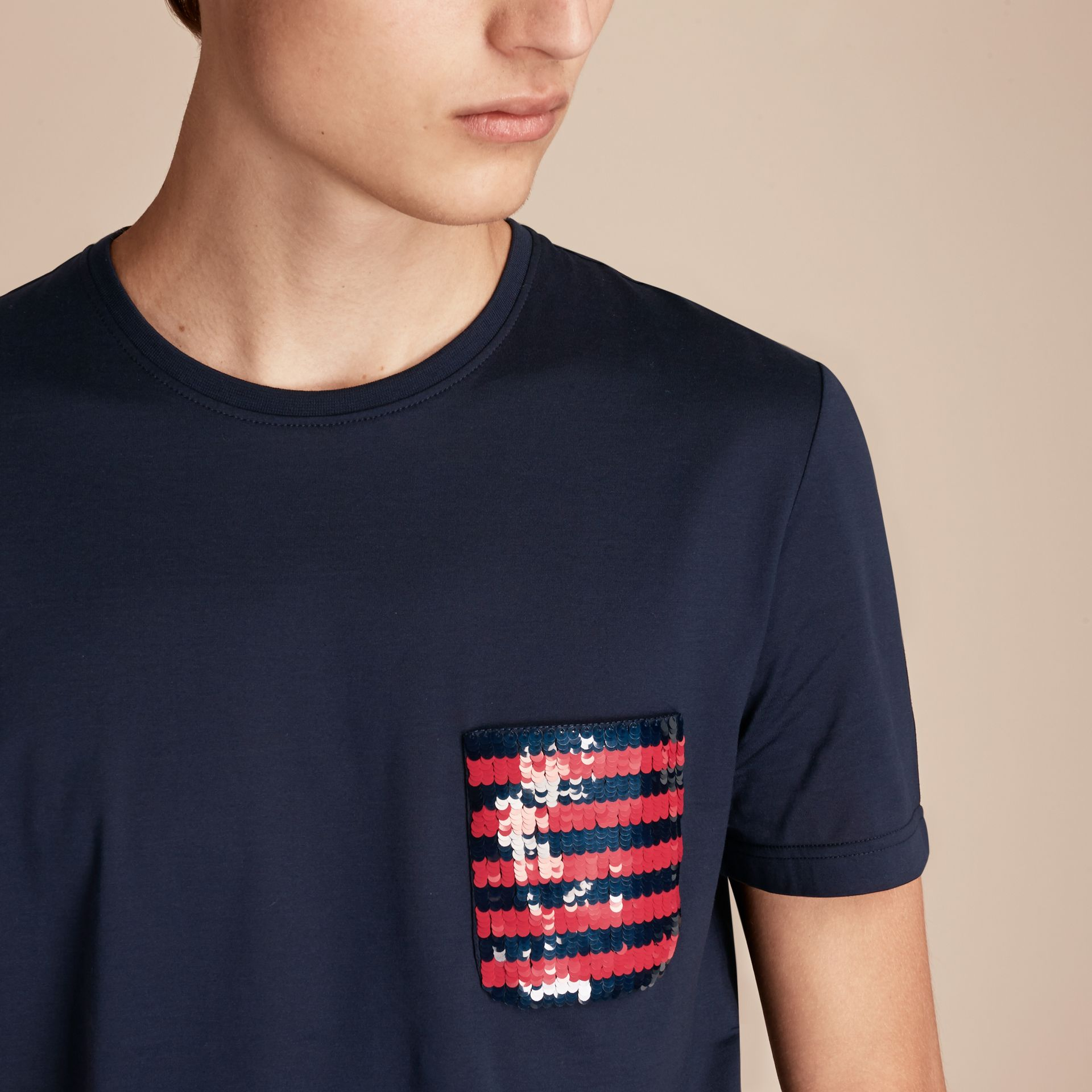 Navy Cotton T-shirt with Sequin Stripe Detail Navy - gallery image 5