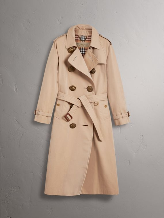 Trench coat in gabardine di cotone con bottoni decorati (Miele) - Donna | Burberry - cell image 3