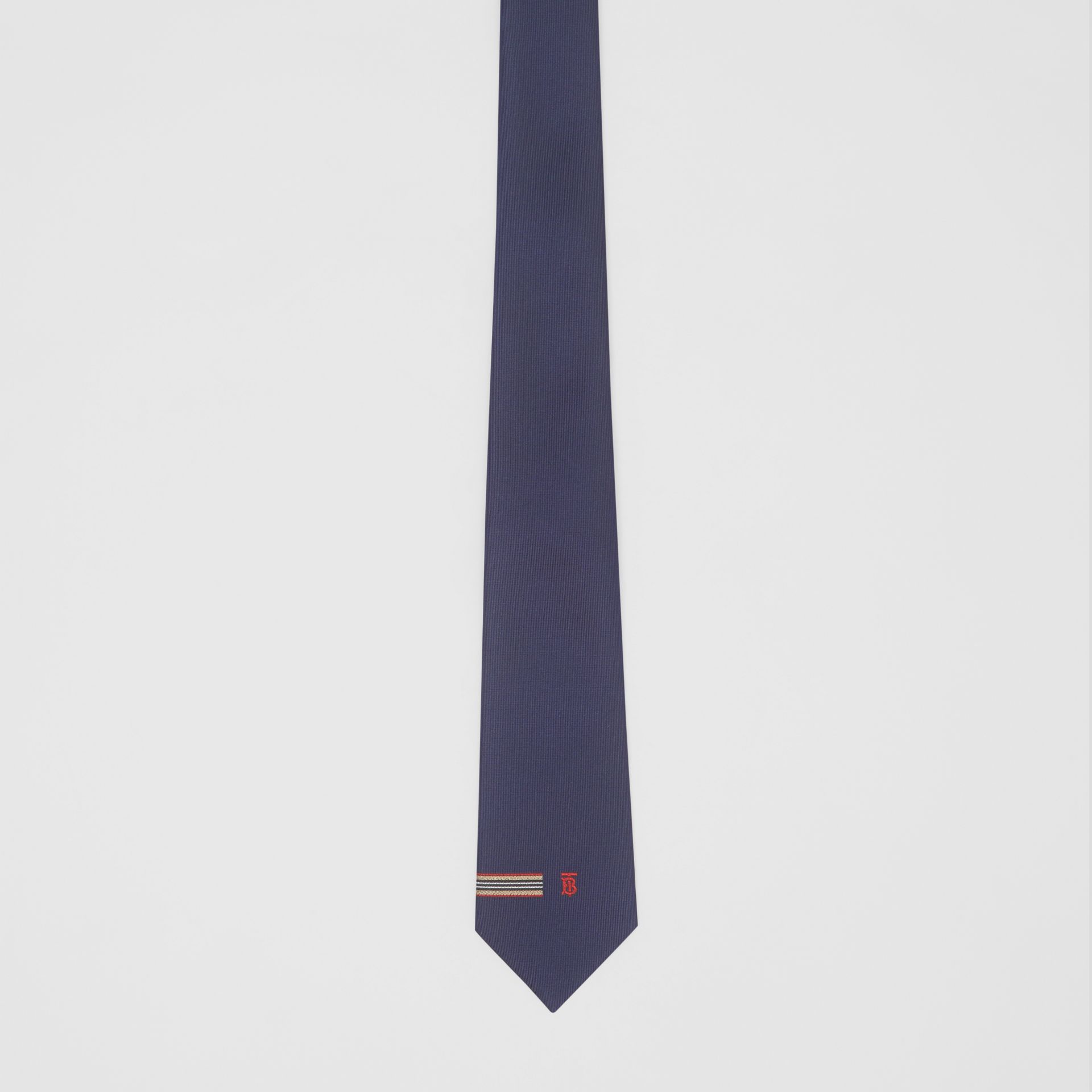Classic Cut Icon Stripe and Monogram Motif Silk Tie in Navy - Men | Burberry United Kingdom - gallery image 2