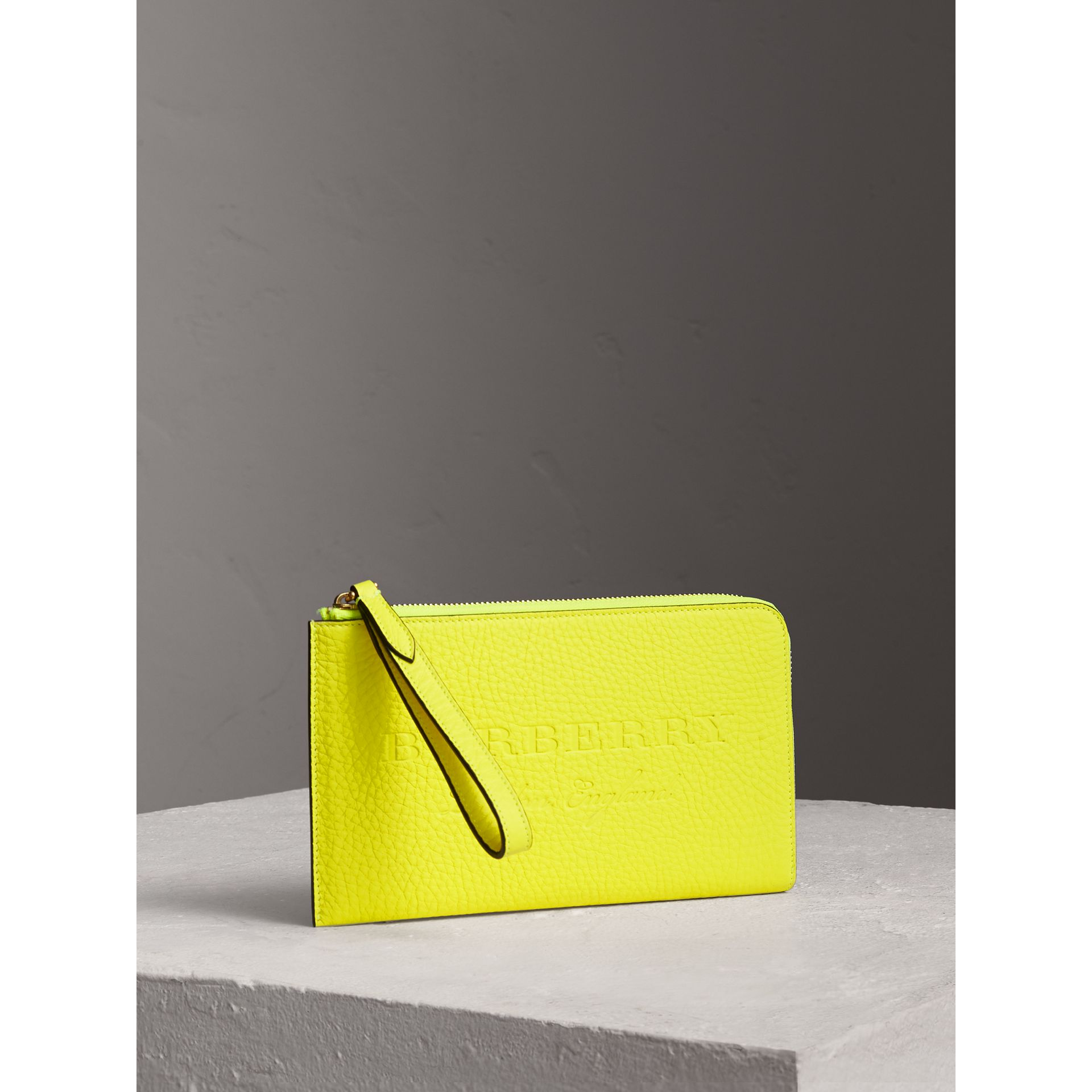 Embossed Neon Leather Travel Wallet in Bright Yellow | Burberry United Kingdom - gallery image 4
