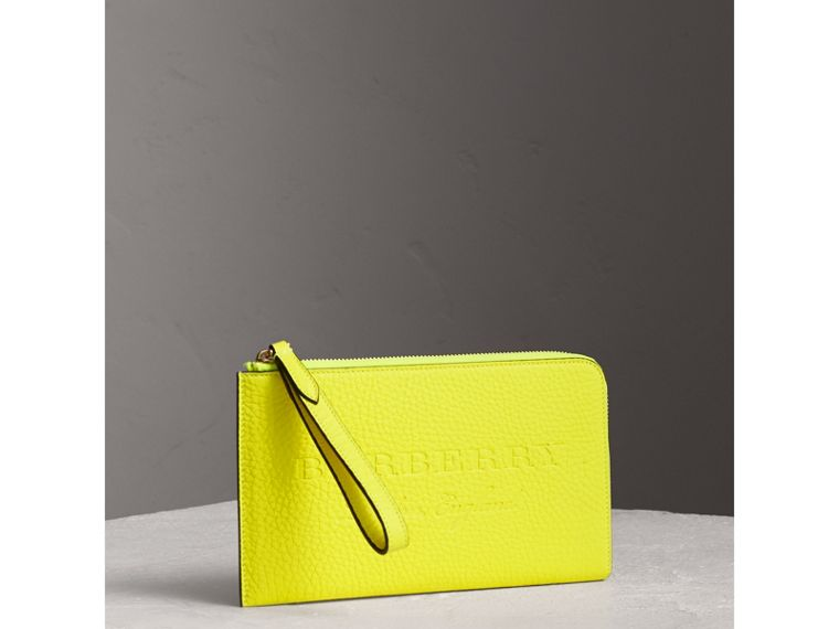Embossed Neon Leather Travel Wallet in Bright Yellow | Burberry - cell image 4