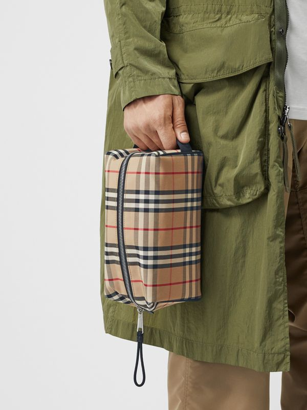 Vintage Check and Leather Pouch in Archive Beige | Burberry Hong Kong S.A.R - cell image 2