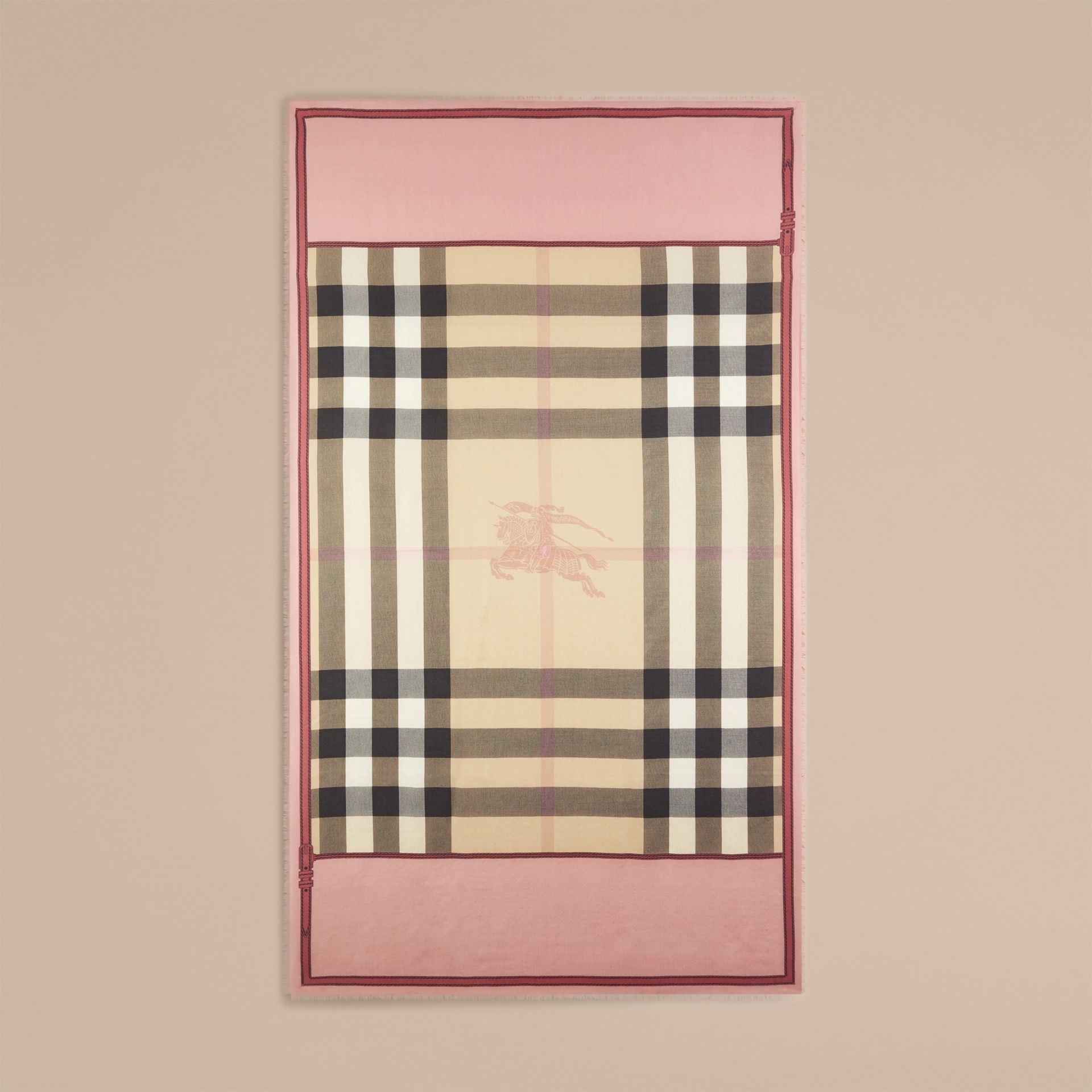 Contrast Border Horseferry Check Cashmere Scarf in Ash Rose - gallery image 4