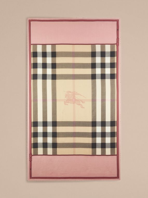Contrast Border Horseferry Check Cashmere Scarf in Ash Rose - cell image 3