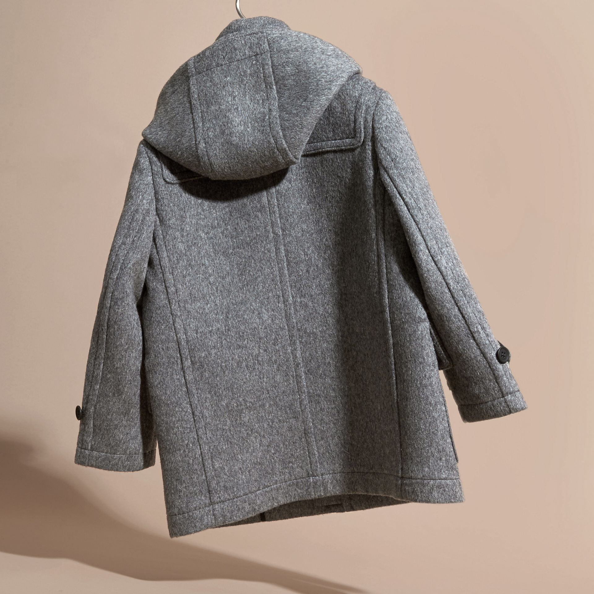 Mid grey melange Wool Duffle Coat with Check-lined Hood Mid Grey Melange - gallery image 4