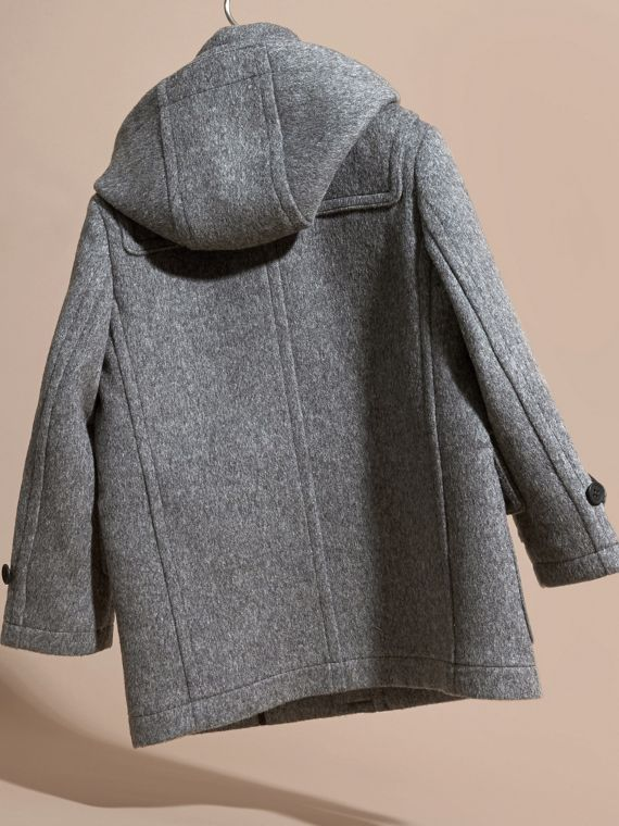Mid grey melange Wool Duffle Coat with Check-lined Hood Mid Grey Melange - cell image 3