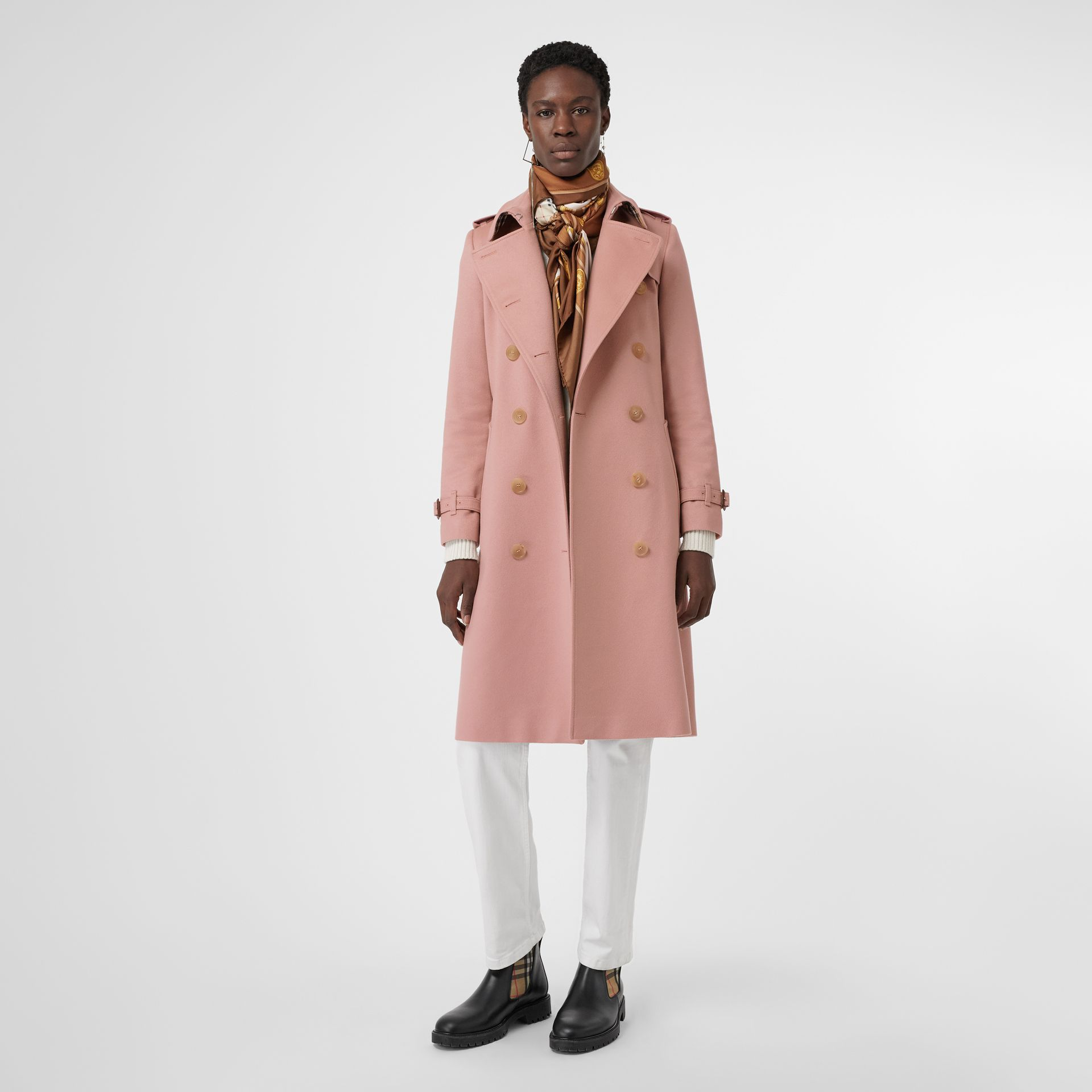 Cashmere Trench Coat in Chalk Pink - Women | Burberry Canada - gallery image 0