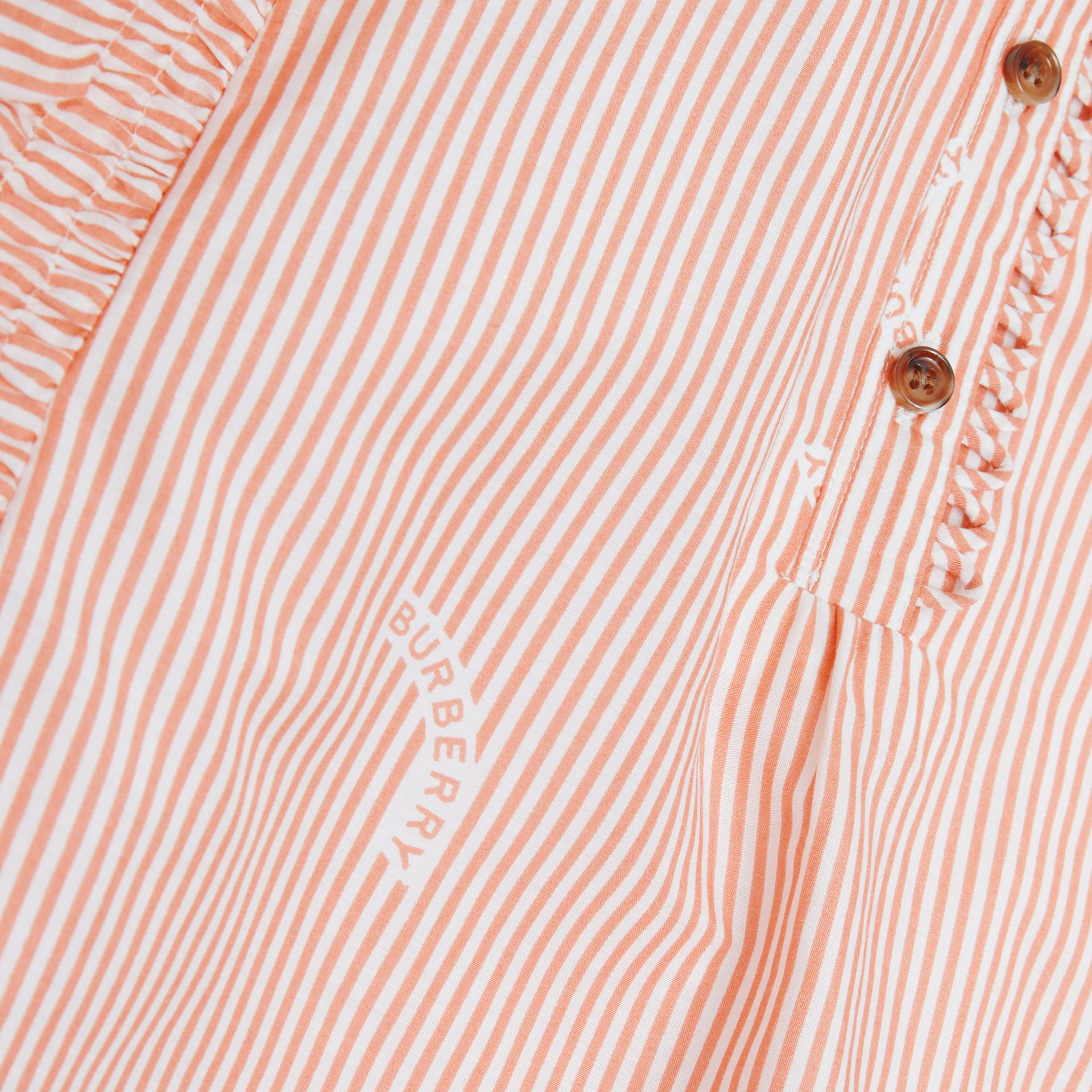 Ruffle Detail Stripe Print Cotton Silk Top in Coral Orange | Burberry - gallery image 1