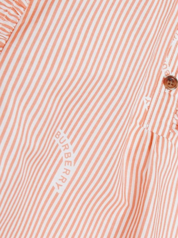 Ruffle Detail Stripe Print Cotton Silk Top in Coral Orange | Burberry - cell image 1