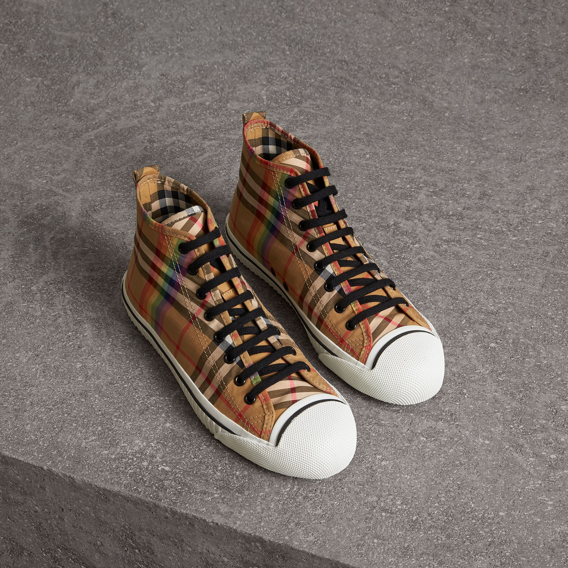 Rainbow Vintage Check High-top Sneakers in Antique Yellow - Men | Burberry - gallery image 0