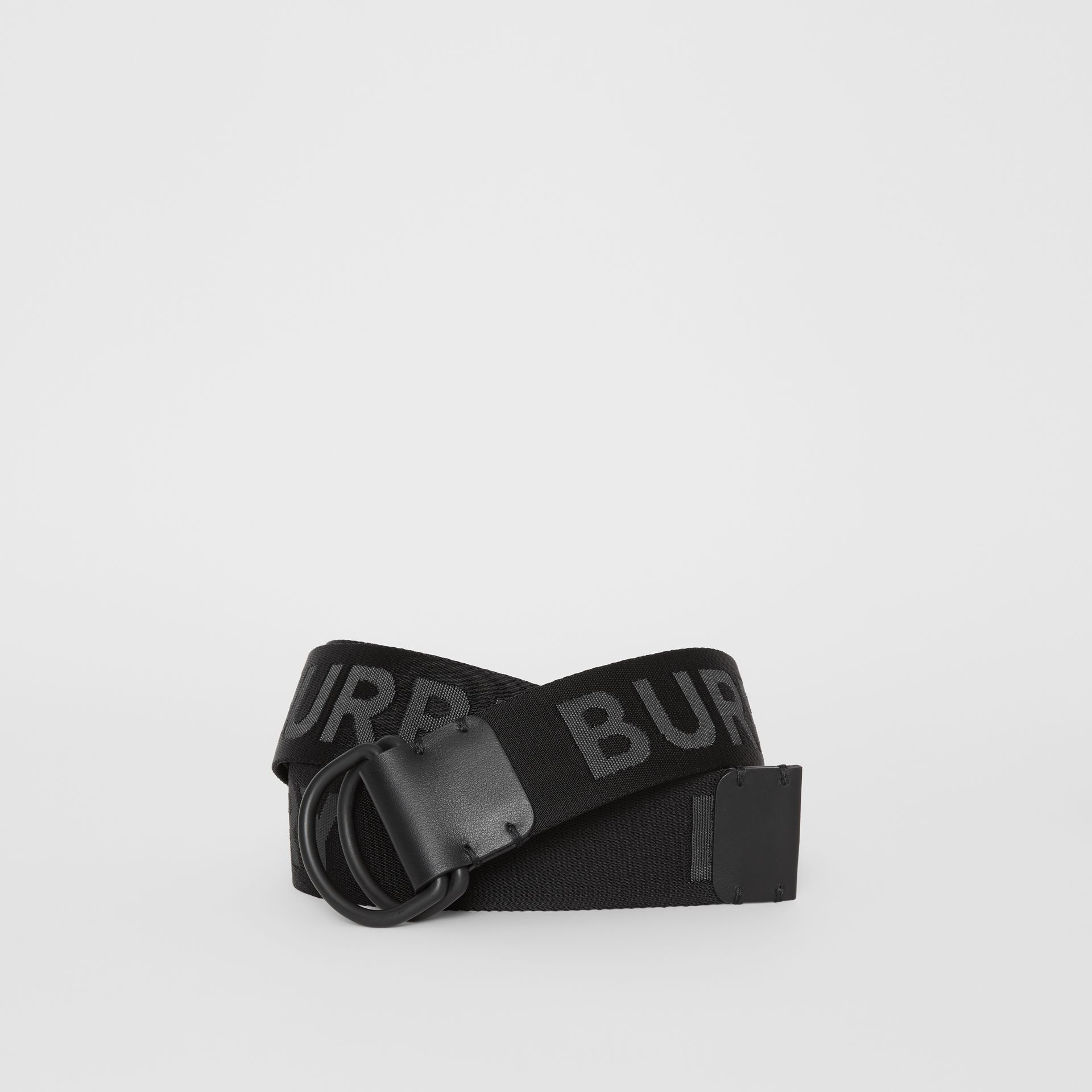 Logo Detail Double D-ring Belt in Black - Men | Burberry - gallery image 0