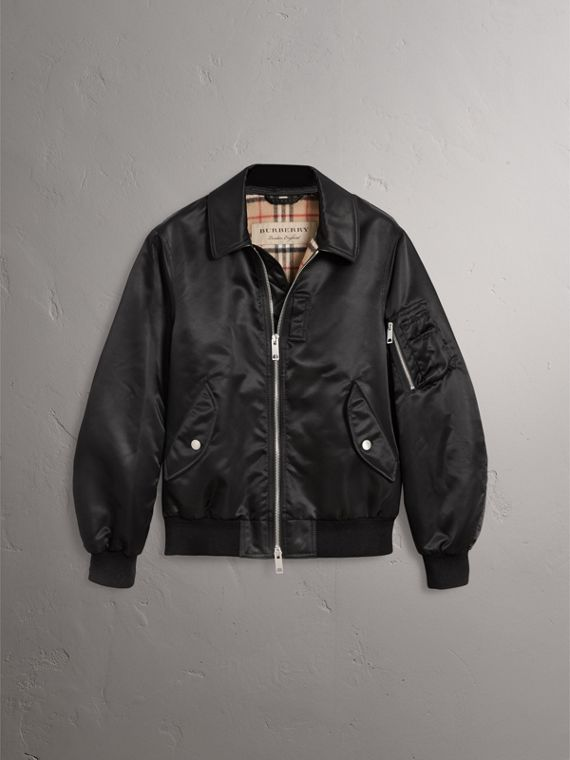 Point Collar Bomber Jacket in Black - Men | Burberry United Kingdom - cell image 3