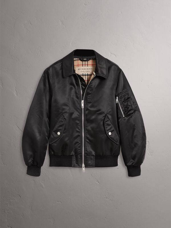 Point Collar Bomber Jacket in Black - Men | Burberry - cell image 3