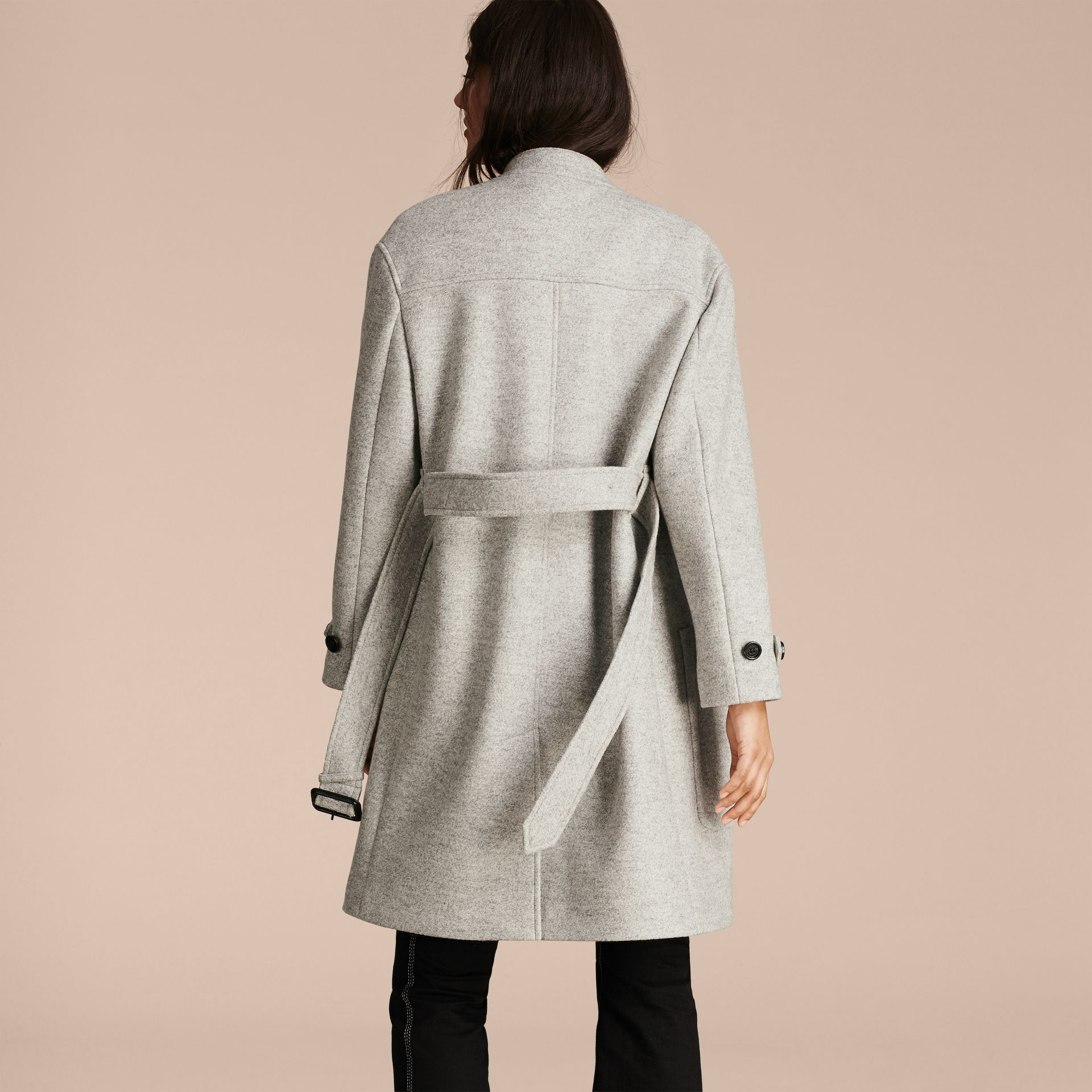 Pale grey melange Wool Belted Wrap Coat - gallery image 3