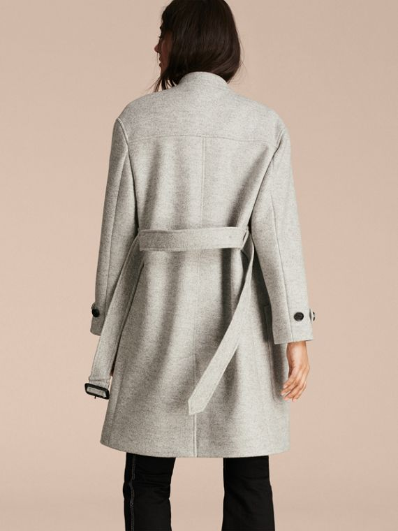 Pale grey melange Wool Belted Wrap Coat - cell image 2