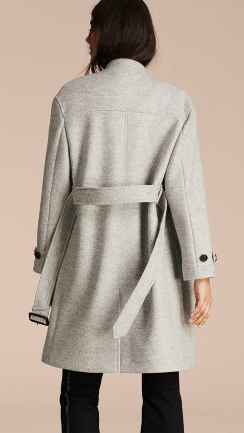 Pale grey melange Wool Belted Wrap Coat - Image 5