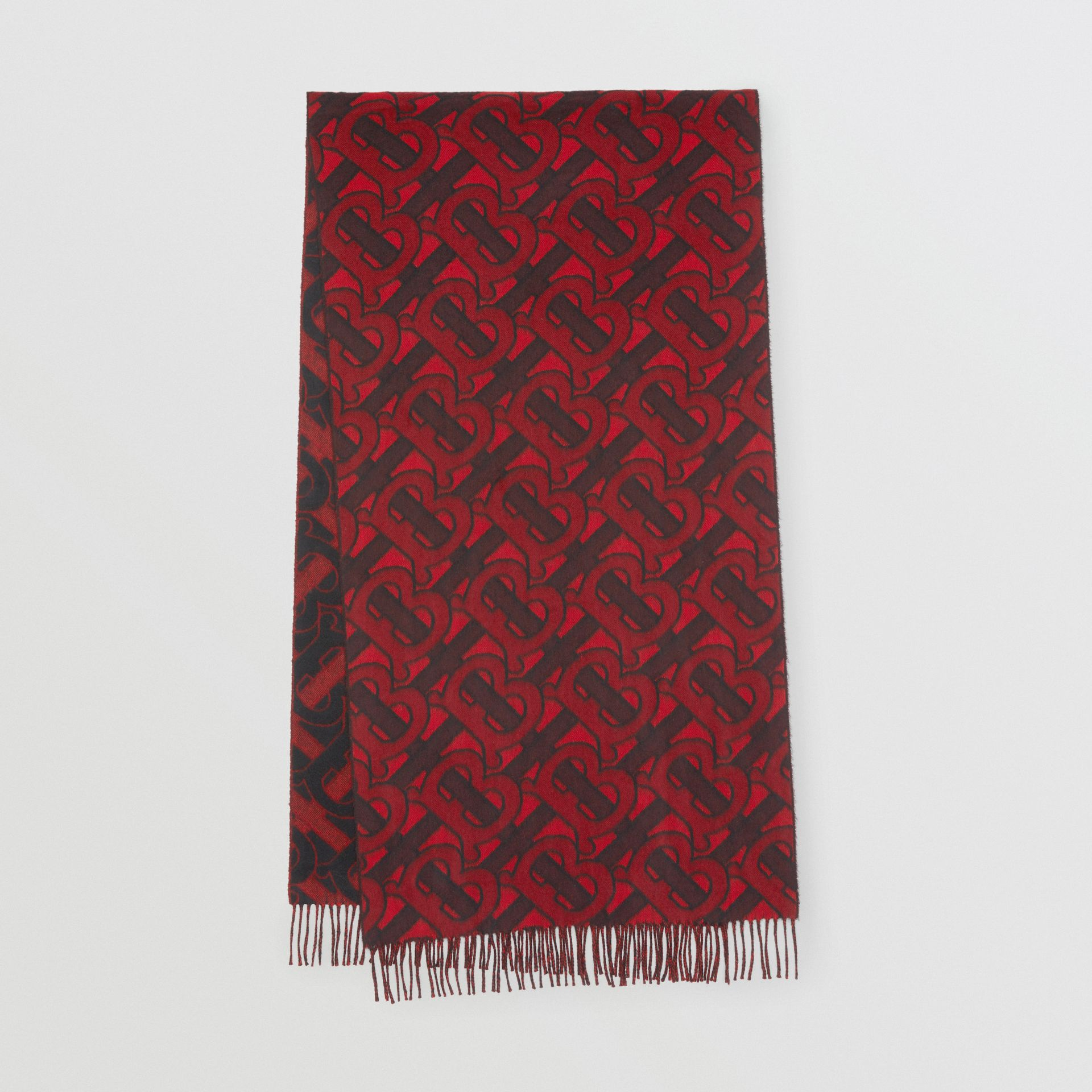 Monogram Cashmere Jacquard Scarf in Crimson | Burberry United Kingdom - gallery image 0