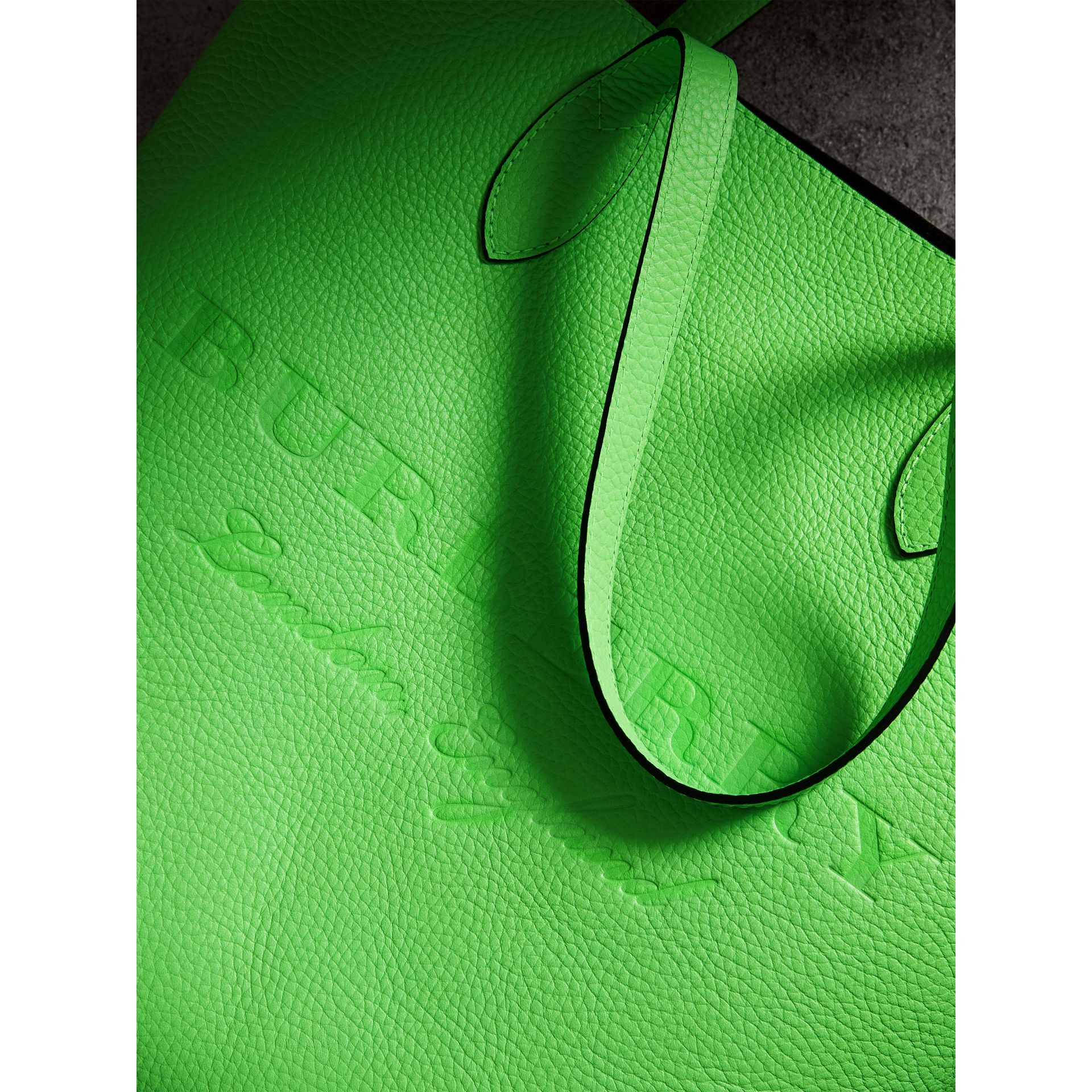 Embossed Leather Tote in Neon Green | Burberry Australia - gallery image 1