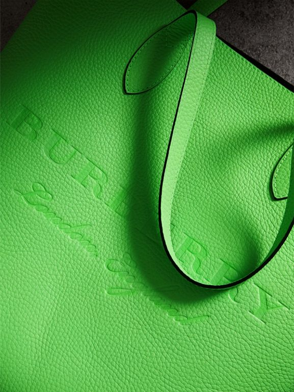 Embossed Leather Tote in Neon Green | Burberry - cell image 1