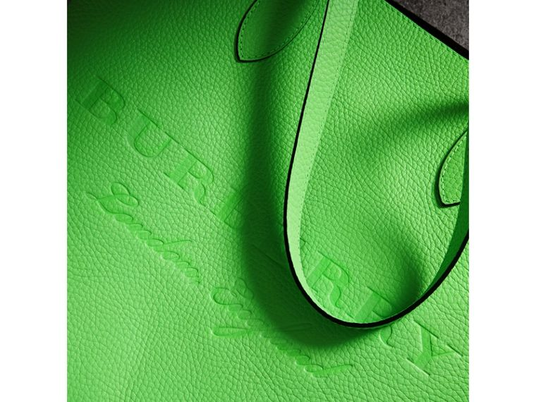 Embossed Leather Tote in Neon Green | Burberry Singapore - cell image 1