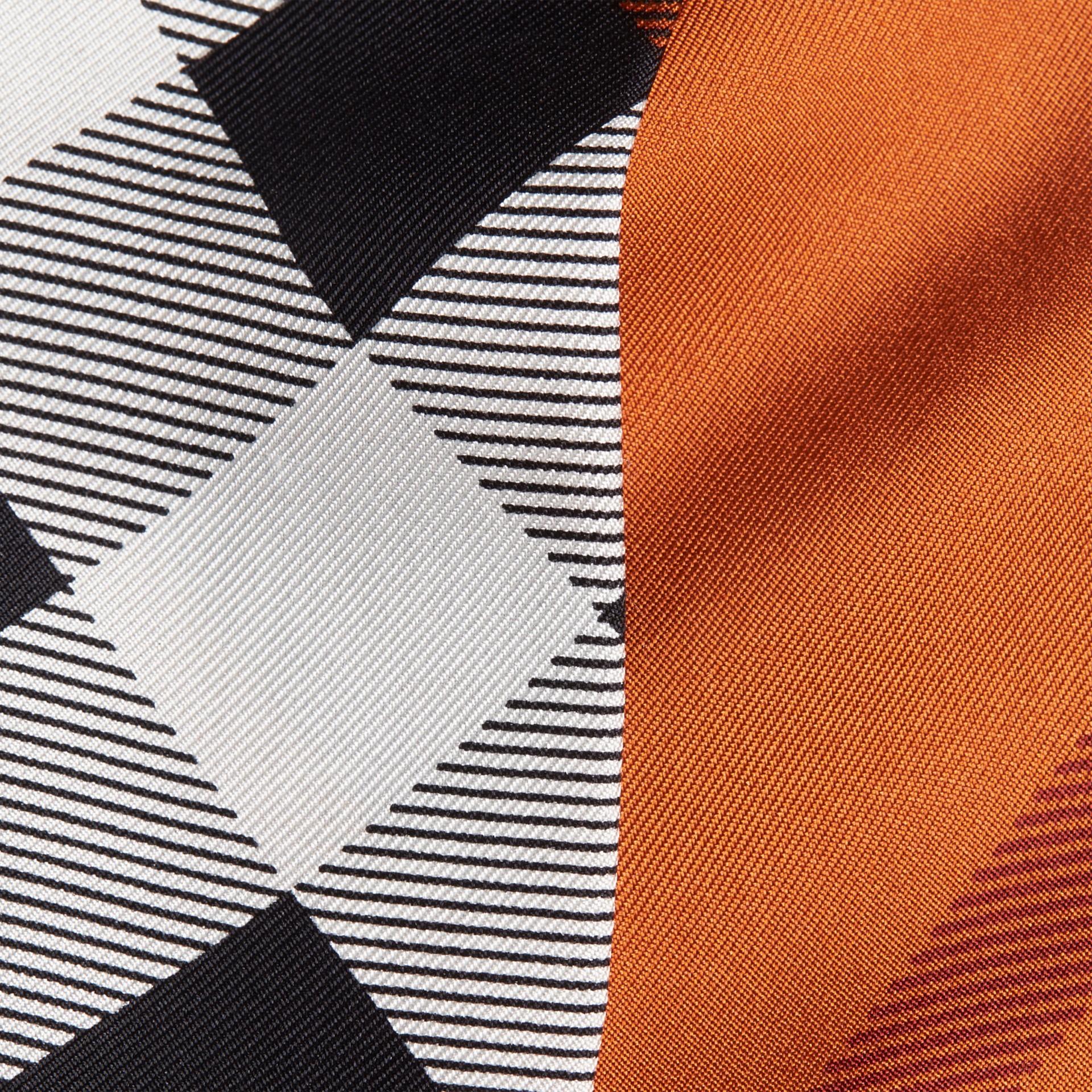 Burnt orange Check Print Slim Silk Scarf Burnt Orange - gallery image 2