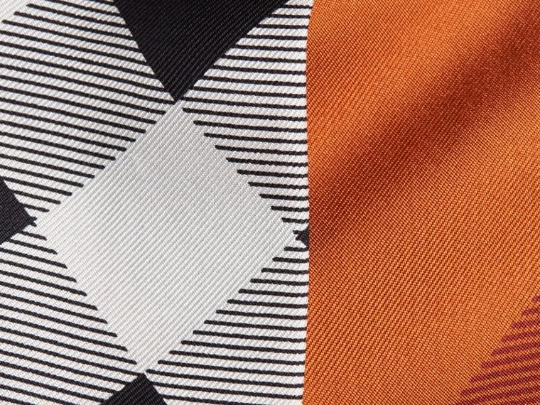 Burnt orange Check Print Slim Silk Scarf Burnt Orange - cell image 1