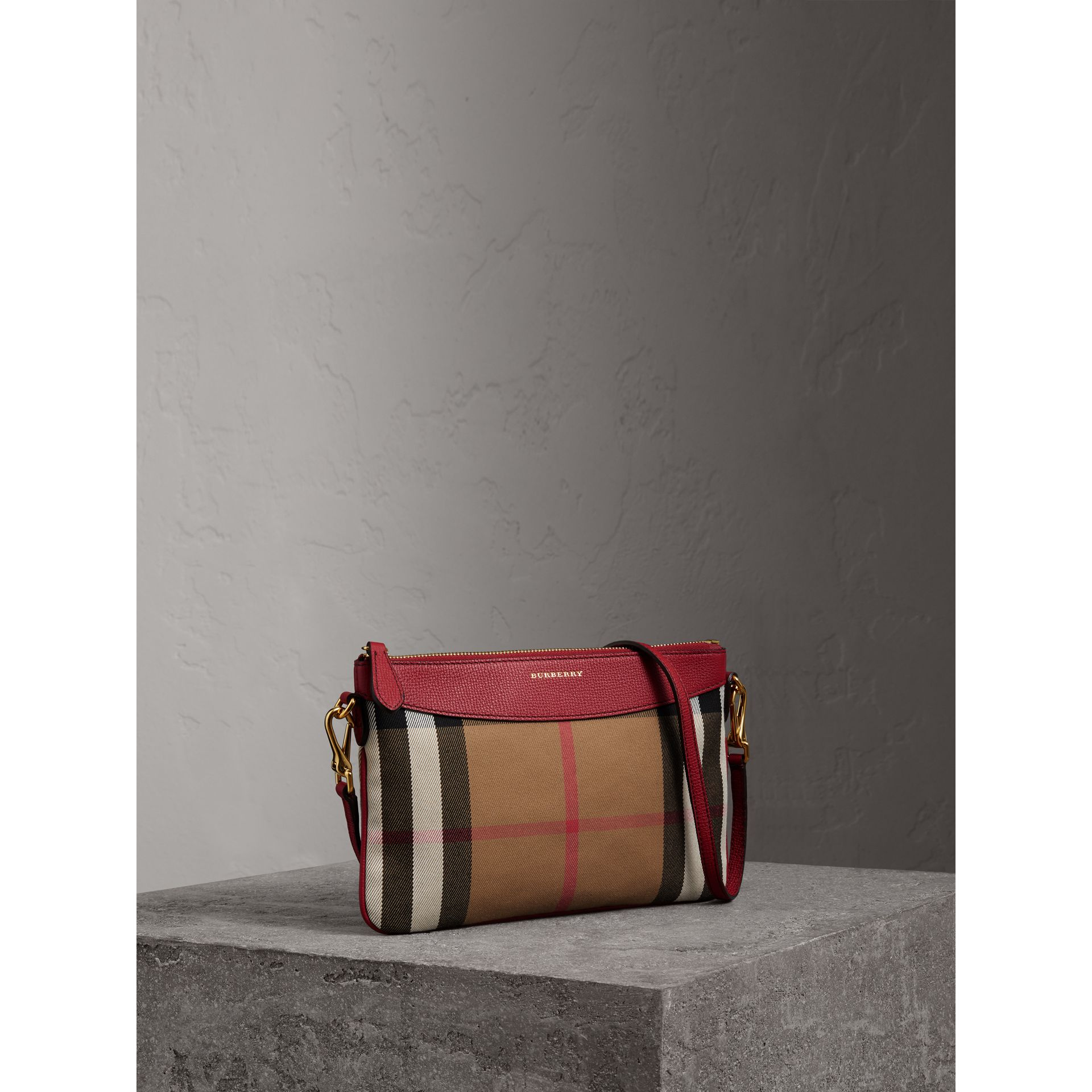 House Check and Leather Clutch Bag in Military Red - Women | Burberry Singapore - gallery image 6