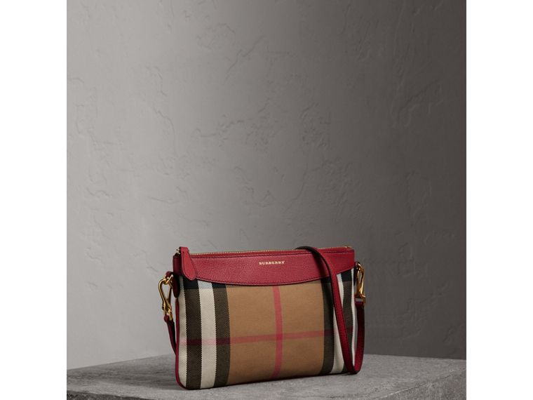 House Check and Leather Clutch Bag in Military Red - Women | Burberry Australia - cell image 4