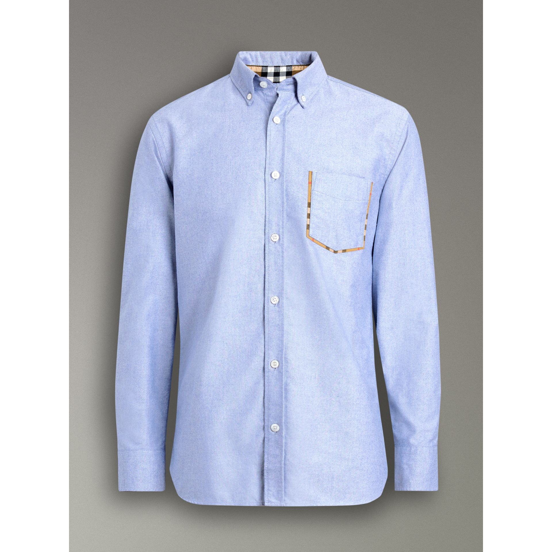 Check Detail Cotton Oxford Shirt in Mineral Blue - Men | Burberry United Kingdom - gallery image 3