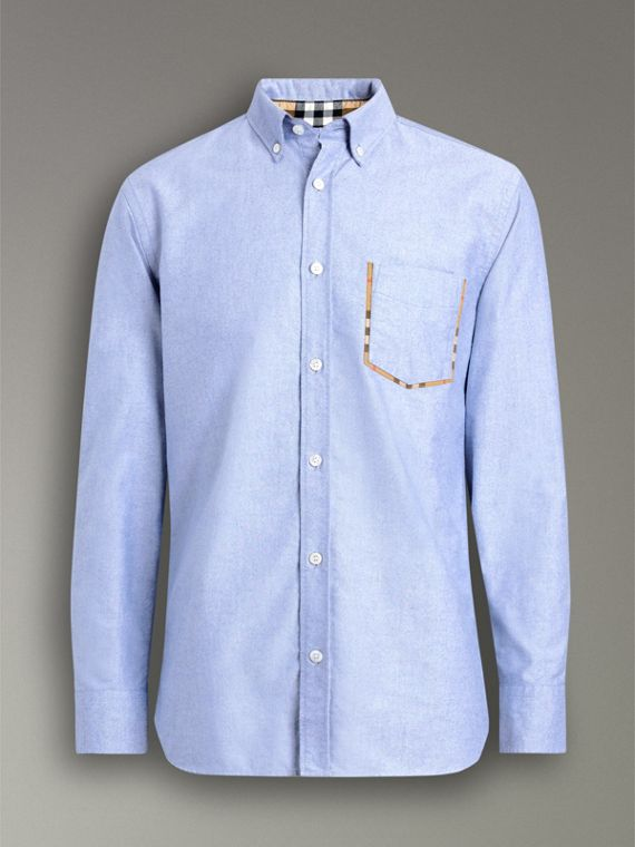 Check Detail Cotton Oxford Shirt in Mineral Blue - Men | Burberry - cell image 3