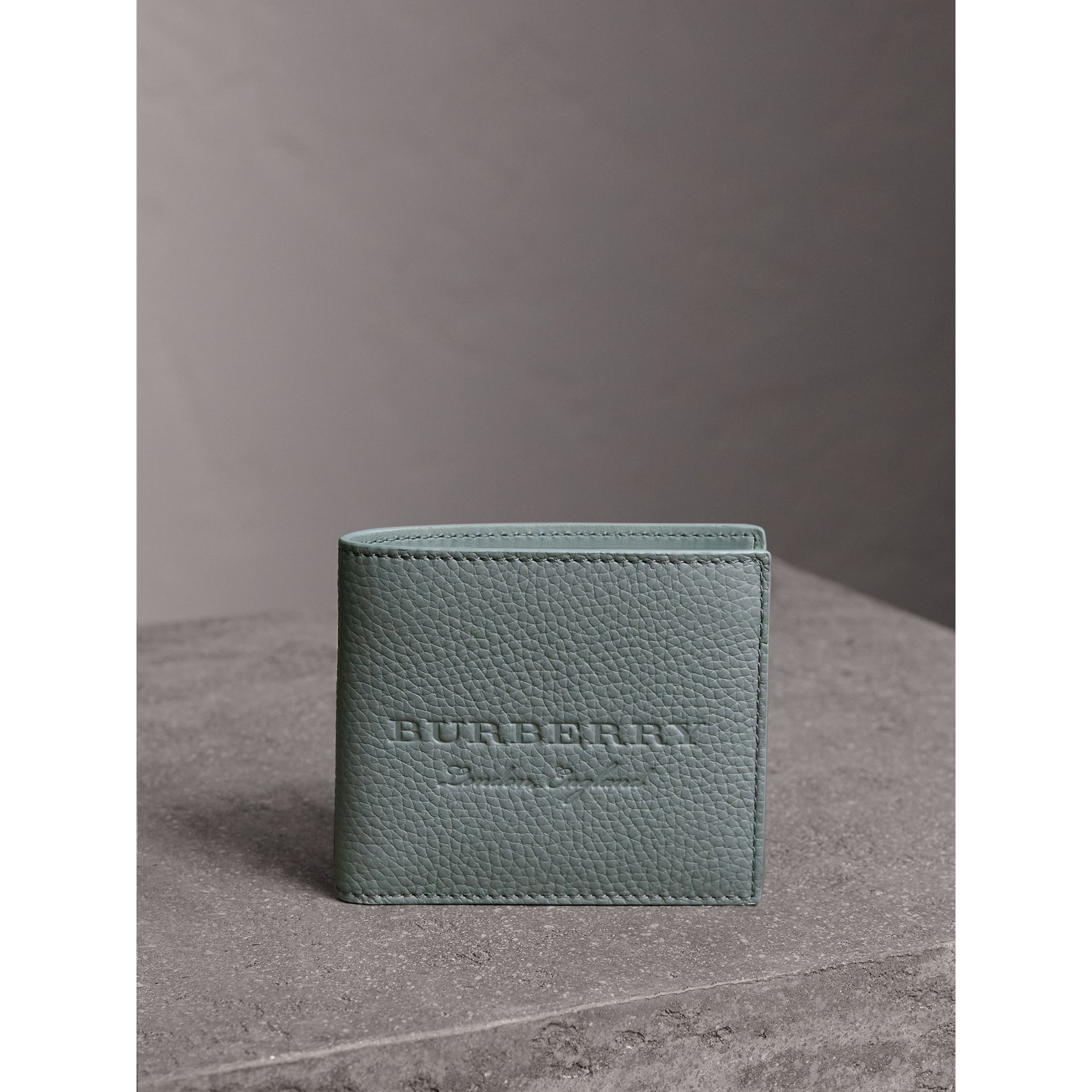 Embossed Leather Bifold Wallet in Dusty Teal Blue - Men | Burberry - gallery image 5