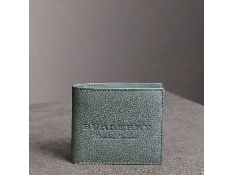 Embossed Leather Bifold Wallet in Dusty Teal Blue - Men | Burberry - cell image 4