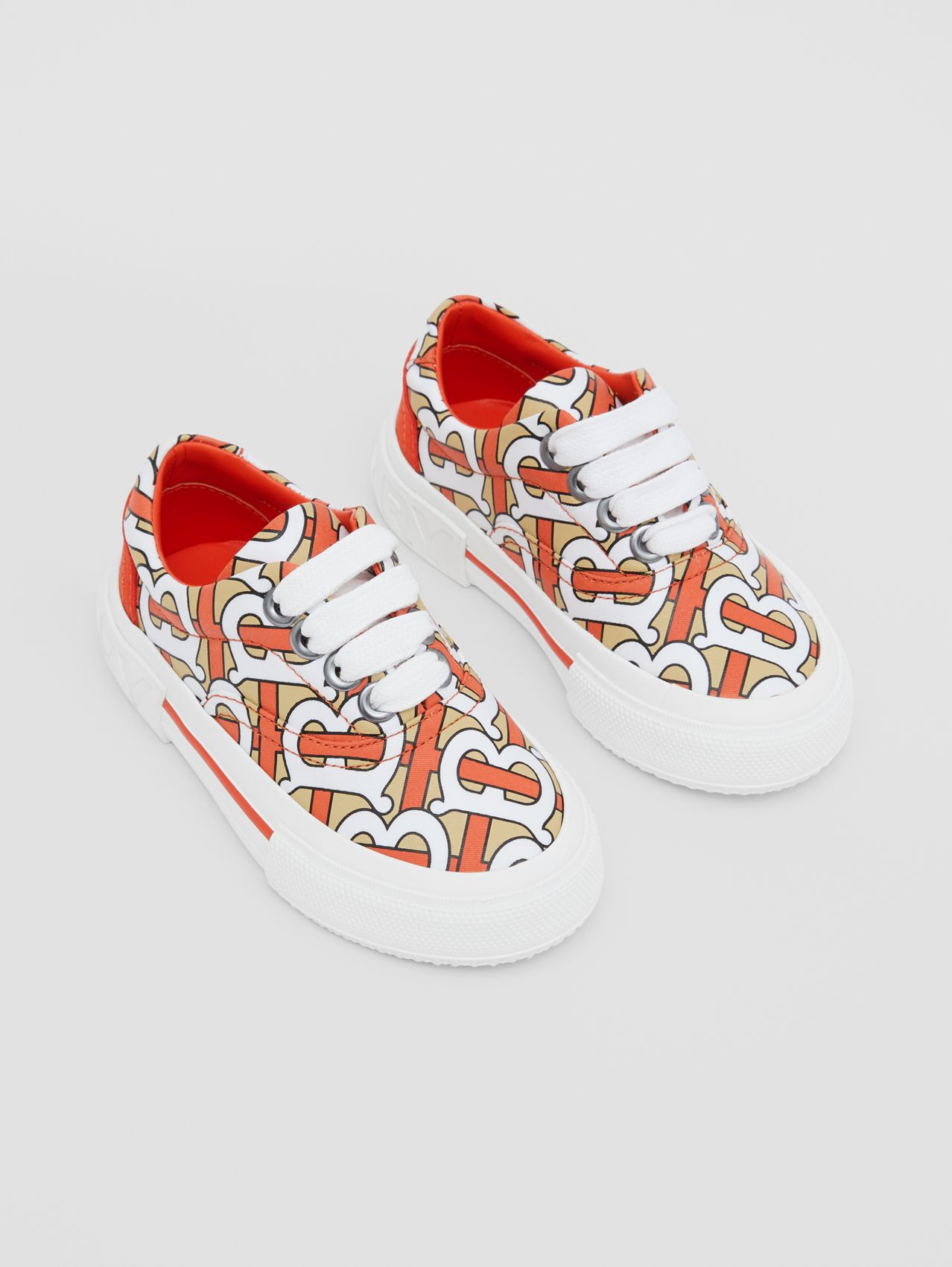 Monogram Print Cotton Gabardine Sneakers in Vermilion